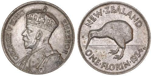 1 Florin Nuova Zelanda Argento Giorgio V (1865-1936)