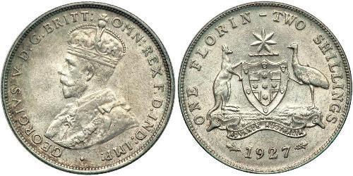 1 Florin Australia (1939 - ) Plata Jorge V (1865-1936)
