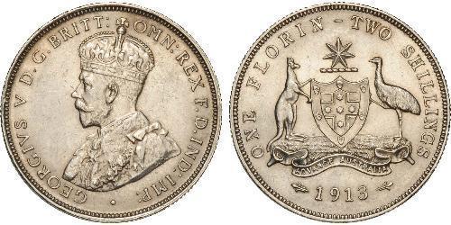 1 Florin / 2 Shilling 澳大利亚 銀 乔治五世  (1865-1936)