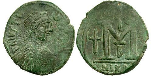 1 Follis Byzantine Empire (330-1453) Bronze Justin I (450-527)