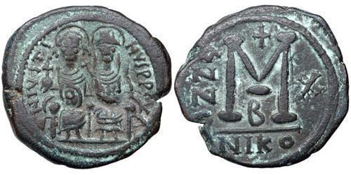 1 Follis Byzantine Empire (330-1453) Bronze Justin II (520-578)