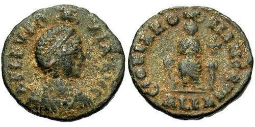 1 Follis / 1 AE3 Byzantine Empire (330-1453) Bronze Aelia Eudoxia (?-404)