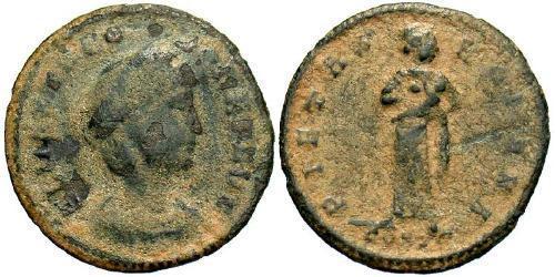 1 Follis / 1 AE4 Roman Empire (27BC-395) Bronze Theodora (500-548)