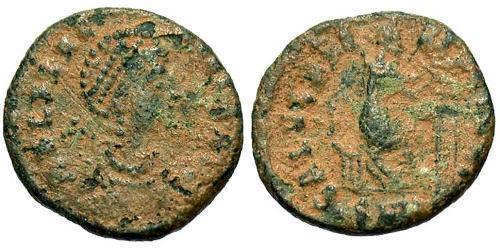 1 Follis /  AE2 Roman Empire (27BC-395) Bronze Aelia Flaccilla (?-385)