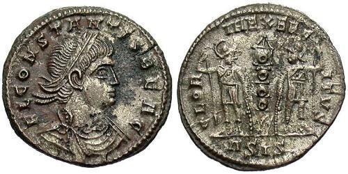 1 Follis /  AE3 Roman Empire (27BC-395) Bronze Constans I (320-350)