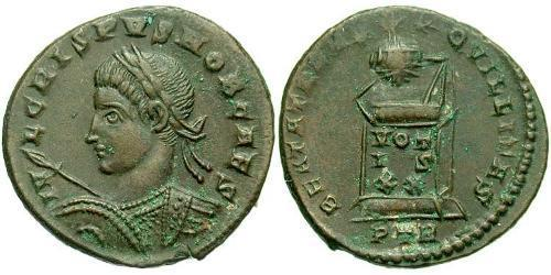 1 Follis /  AE3 Roman Empire (27BC-395) Bronze Crispus (305 - 326)
