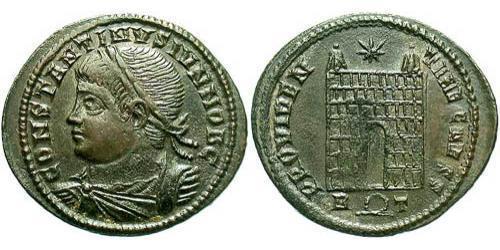 1 Follis /  AE3 Roman Empire (27BC-395) Bronze Constantius II (317 - 361)