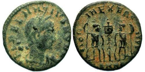 1 Follis /  AE4 Roman Empire (27BC-395) Bronze Dalmatius (?-337)