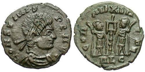 1 Follis /  AE4 Roman Empire (27BC-395) Bronze Constans I (320-350)