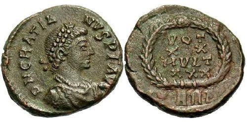 1 Follis /  AE4 Western Roman Empire (285-476) Bronze Gratian (359-383)