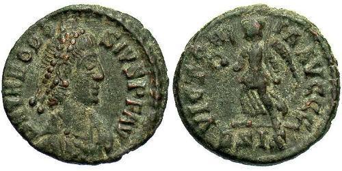 1 Follis /  AE4 Western Roman Empire (285-476) Bronze Theodosius I (347-395)
