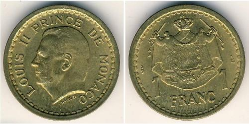 1 Franc Principato di Monaco Alluminio/Bronzo Luigi II di Monaco (1870-1949)