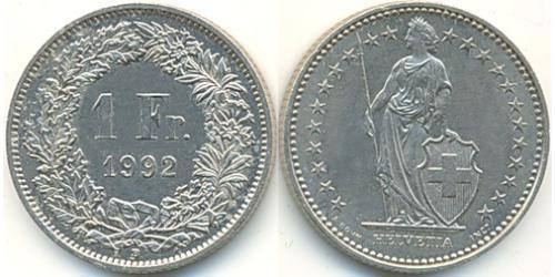 1 Franc Switzerland Copper/Nickel