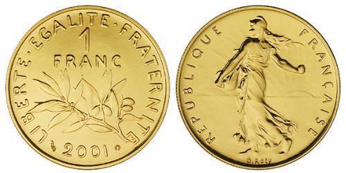 1 Franc Fünfte Französische Republik (1958 - ) Gold