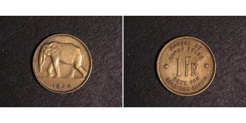 1 Franc Geschichte der Demokratischen Republik Kongo (1908 - 1960) Messing