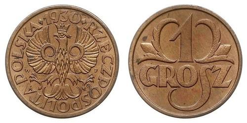 1 Grosh Deuxième République de Pologne (1918 - 1939) Cuivre