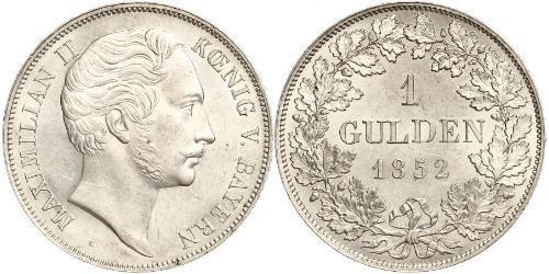 1 Gulden Regno di Baviera (1806 - 1918) Argento Massimiliano II di Baviera(1811 - 1864)