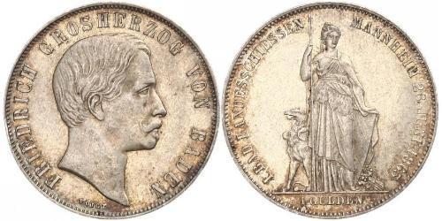 1 Gulden Gran Ducado de Baden (1806-1918) Plata Federico I de Baden (1826 - 1907)