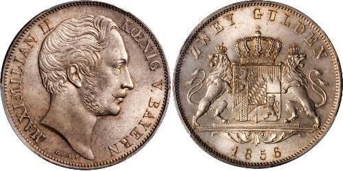 1 Gulden Kingdom of Bavaria (1806 - 1918) Silver Maximilian II of Bavaria (1811 - 1864)