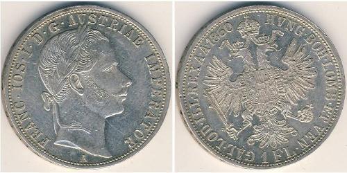 1 Gulden / 1 Florin 奧地利帝國 (1804 - 1867) 銀 弗朗茨·约瑟夫一世 (1830 - 1916)