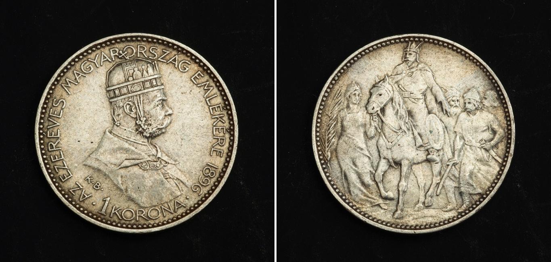 1 korona 1896 austria hungary 1867 1918 silver franz - Coin de finition plinthe ...