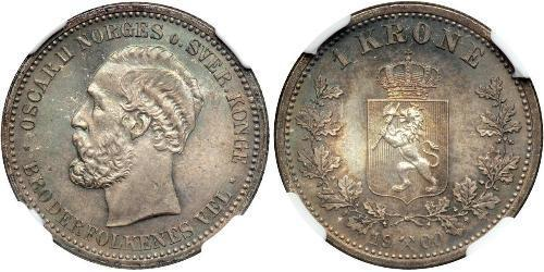 1 Krone United Kingdoms of Sweden and Norway (1814-1905) Argent Oscar II de Suède (1829-1907)