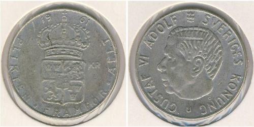 1 Krone Suecia Plata Gustavo VI Adolfo de Suecia (1882 - 1973)