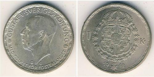 1 Krone Suecia Plata Gustavo V de Suecia (1858 - 1950)