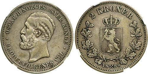 1 Krone United Kingdoms of Sweden and Norway (1814-1905) Plata Óscar II de Suecia (1829-1907)
