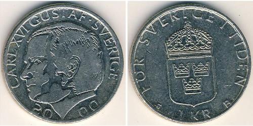 1 Krone Svezia Rame/Nichel Carlo XVI Gustavo di Svezia