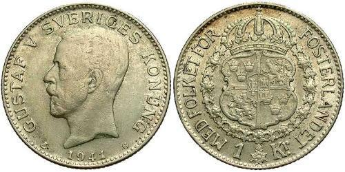 1 Krone Sweden Silver Gustaf V of Sweden (1858 - 1950)
