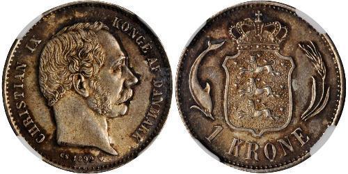 1 Krone Danimarca  Cristiano IX di Danimarca (1818-1906)