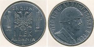 1 Lek Albanian Kingdom (1939-1943) Rostfreier Stahl Viktor Emanuel III. (Italien) (1869 - 1947)