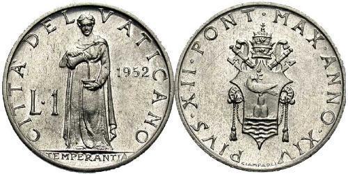 1 Lira Vatican (1926-) Aluminium Pope Pius XII  (1876 - 1958)