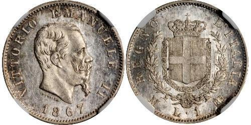 1 Lira Kingdom of Italy (1861-1946) Argent Victor Emmanuel II of Italy (1820 - 1878)