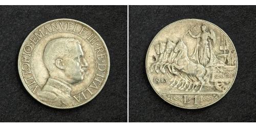 1 Lira Kingdom of Italy (1861-1946) Argento Vittorio Emanuele III d