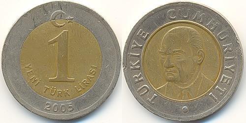 1 Lira Turquie (1923 - ) Nickel/Laiton