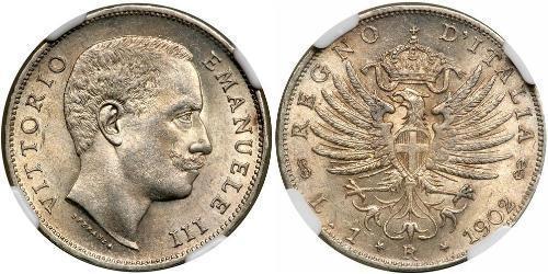 1 Lira Kingdom of Italy (1861-1946) Plata Vittorio Emanuele III (1869 - 1947)