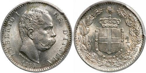 1 Lira Kingdom of Italy (1861-1946) Silber Umberto I (1844-1900)