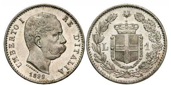 1 Lira Kingdom of Italy (1861-1946) Silber Umberto I (1844-1900)