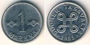 1 Mark Finland (1917 - ) Nickel plated steel