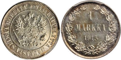 1 Mark Großfürstentum Finnland (1809 - 1917) Silber Nikolaus II (1868-1918)