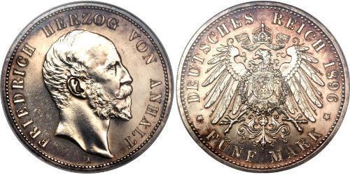 1 Mark Anhalt-Dessau (1603 -1863) Silver Frederick I, Duke of Anhalt (1831-1904)