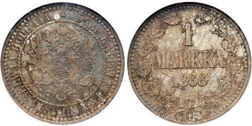 1 Mark Grand Duchy of Finland (1809 - 1917) Silver Alexander II of Russia (1818-1881)