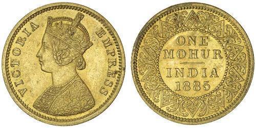 1 Mohur 英属印度 (1858 - 1947) 金 维多利亚 (英国君主)