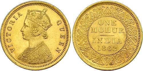 1 Mohur Raj Británico (1858-1947) Oro Victoria (1819 - 1901)