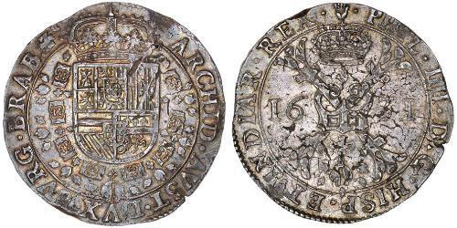 1 Patagon Spanish Netherlands Argento Filippo IV di Spagna (1605 -1665)