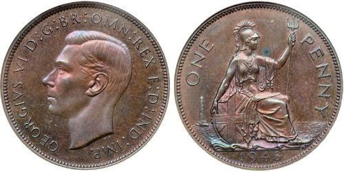 1 Penny Feriind Kiningrik (1922-) Bronze George VI (1895-1952)