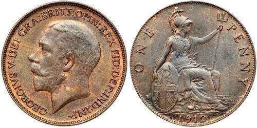 1 Penny Regno Unito di Gran Bretagna e Irlanda (1801-1922) Bronzo Giorgio V (1865-1936)