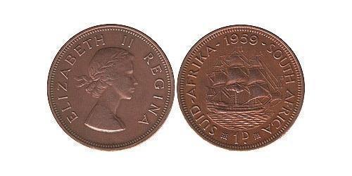 1 Penny Sudafrica Bronzo Elisabetta II (1926-)